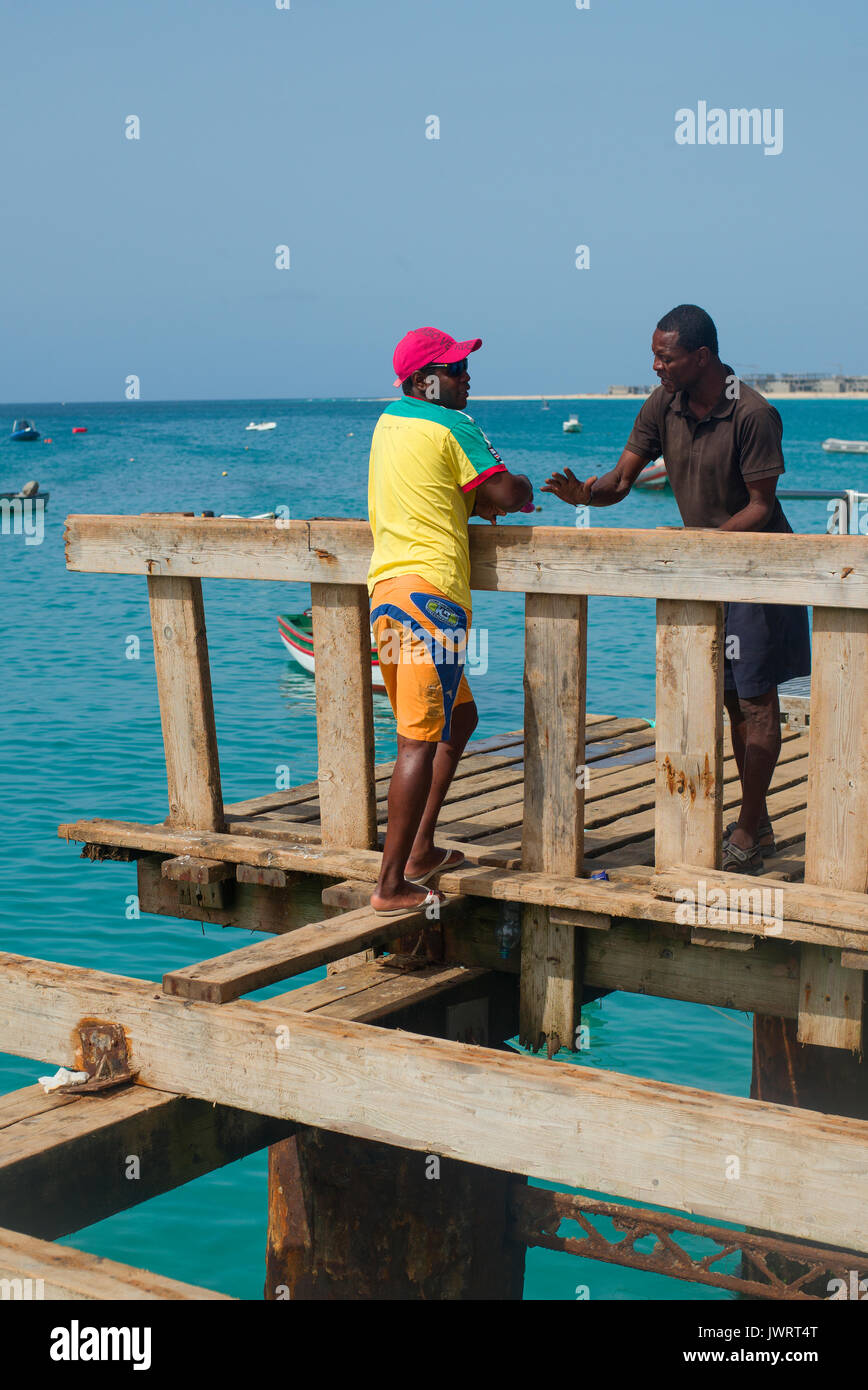 Local in discussion, Cape Verde - Stock Image