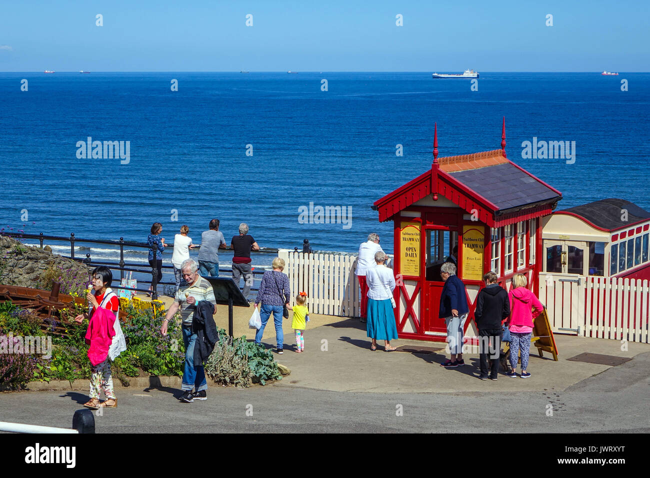 Red wooden pay booth above funicular railway, Saltburn by the Sea - Stock Image