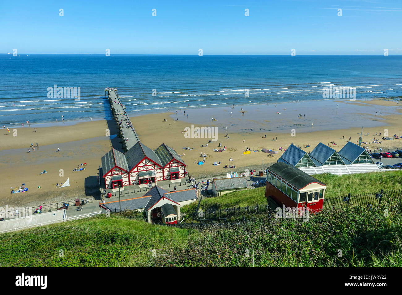 Saltburn by the Sea pier, jutting into the North Sea, North Yorkshire, UK - Stock Image
