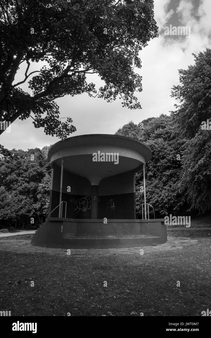 A black and white image of Whitehaven bandstand - Stock Image