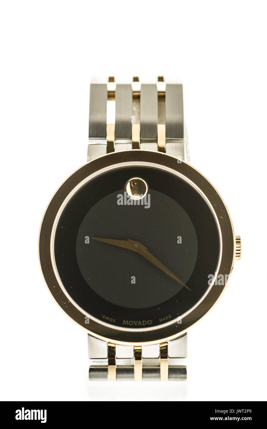 Winneconne, WI - 13 August 2017:  A Movado watch on an isolated background. - Stock Image