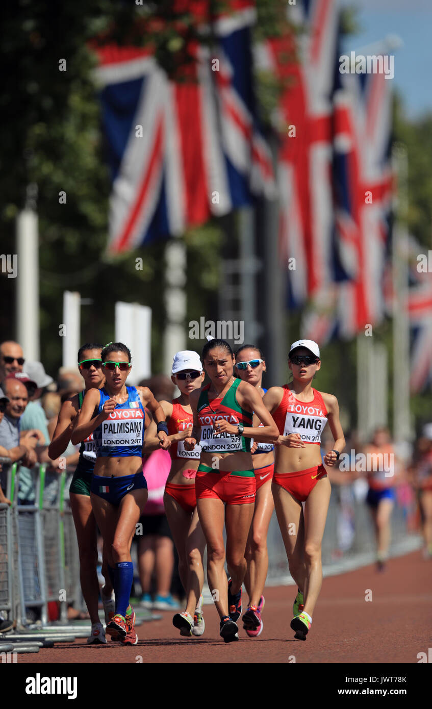 Mexico's Maria Guadalupe Gonzalez (centre right) competes in the Women's 20km Race Walk during day ten of the 2017 Stock Photo