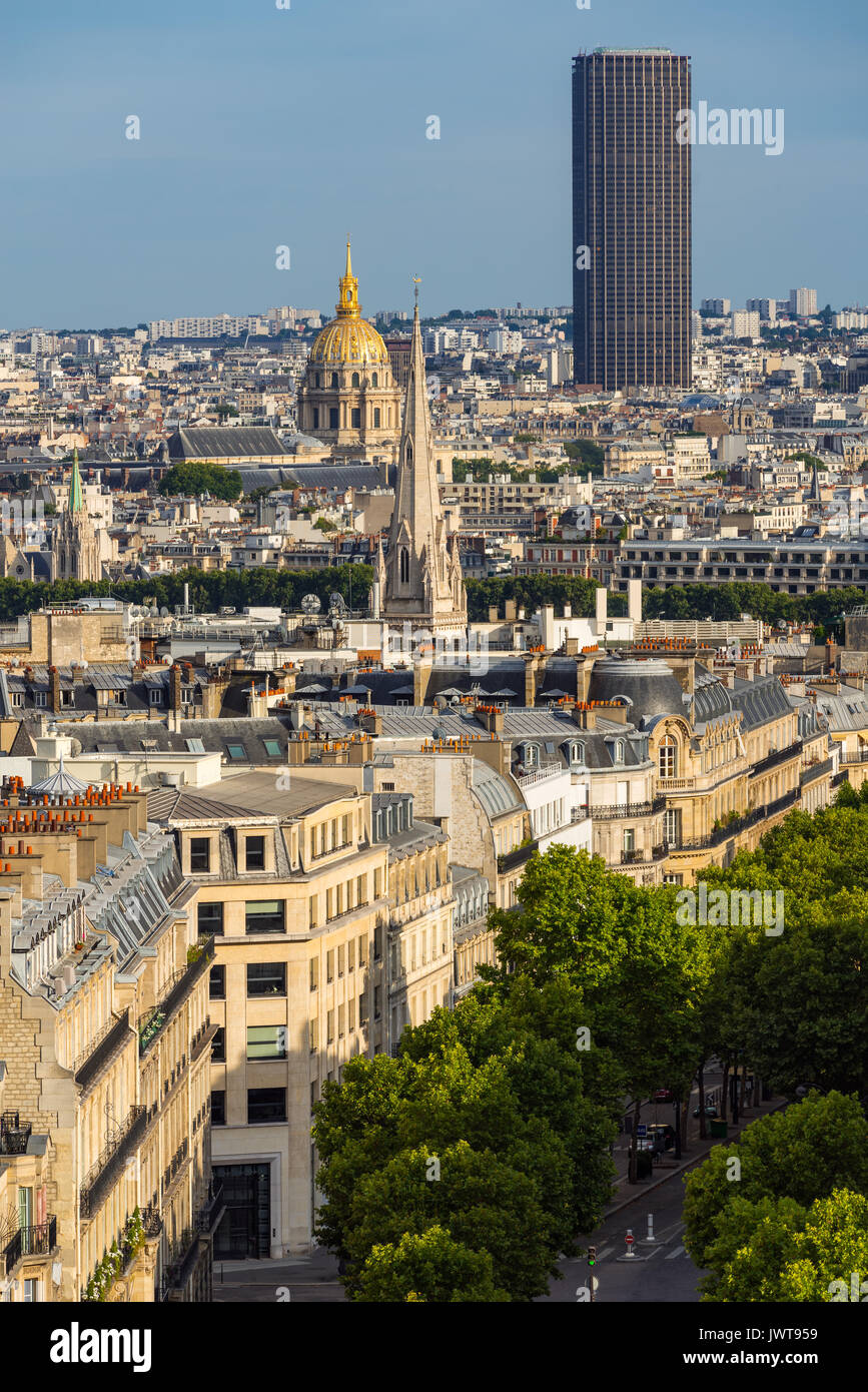 Paris rooftops in summer with view on the Invalides and Montparnasse Tower. Paris, France - Stock Image