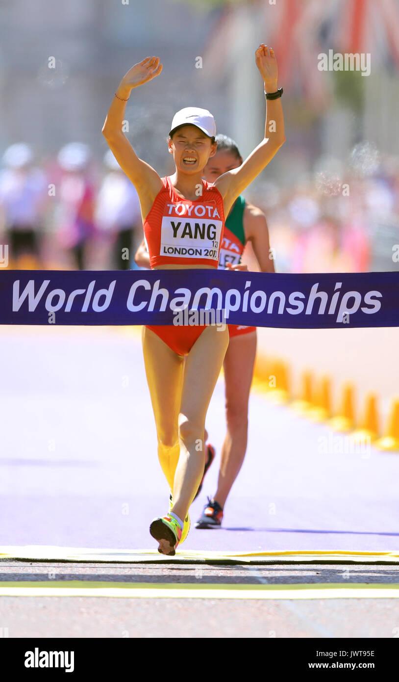 China's Jiayu Yang wins the Women's 20km Race Walk during day ten of the 2017 IAAF World Championships at the London Stock Photo