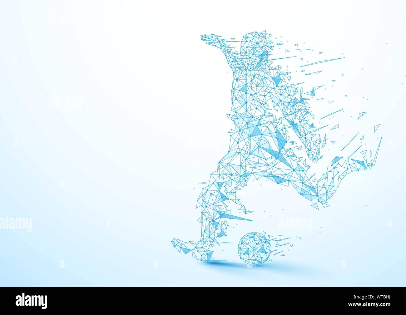 Abstract low polygon football player kicking the ball wireframe mesh on soft blue background - Stock Vector