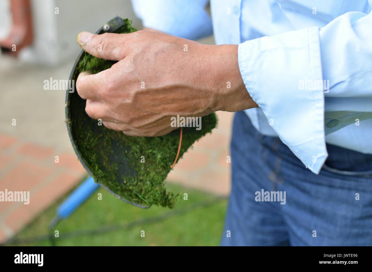 Strong man's hand cleaning lawn trimmer and taking grass out of it - Stock Image