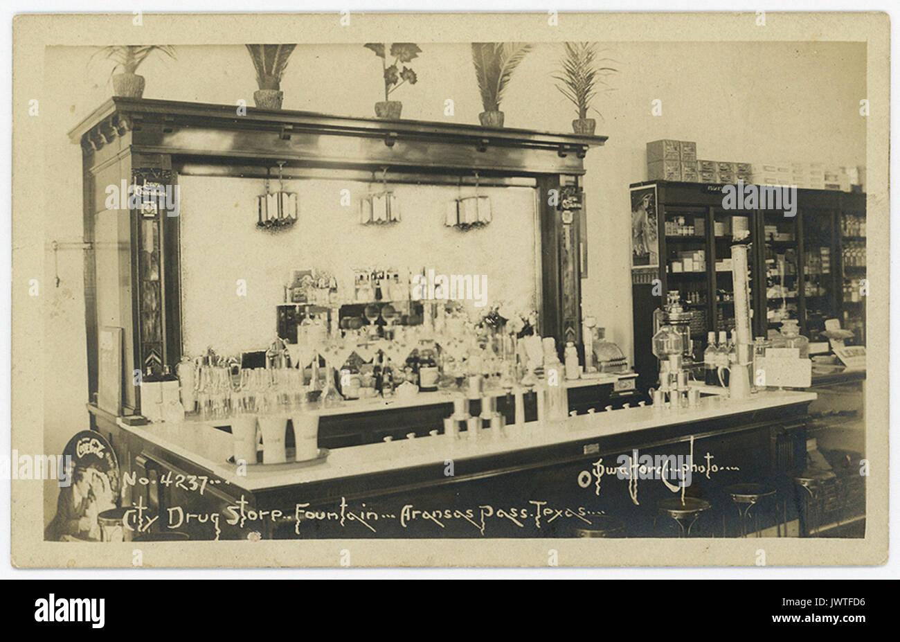 City Drug Store Fountain, Aransas Pass, Texas - Stock Image