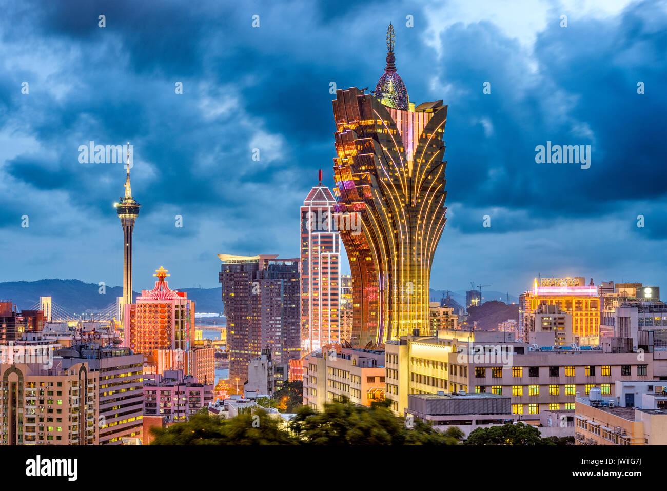 Macau, China city skyline at dusk. - Stock Image
