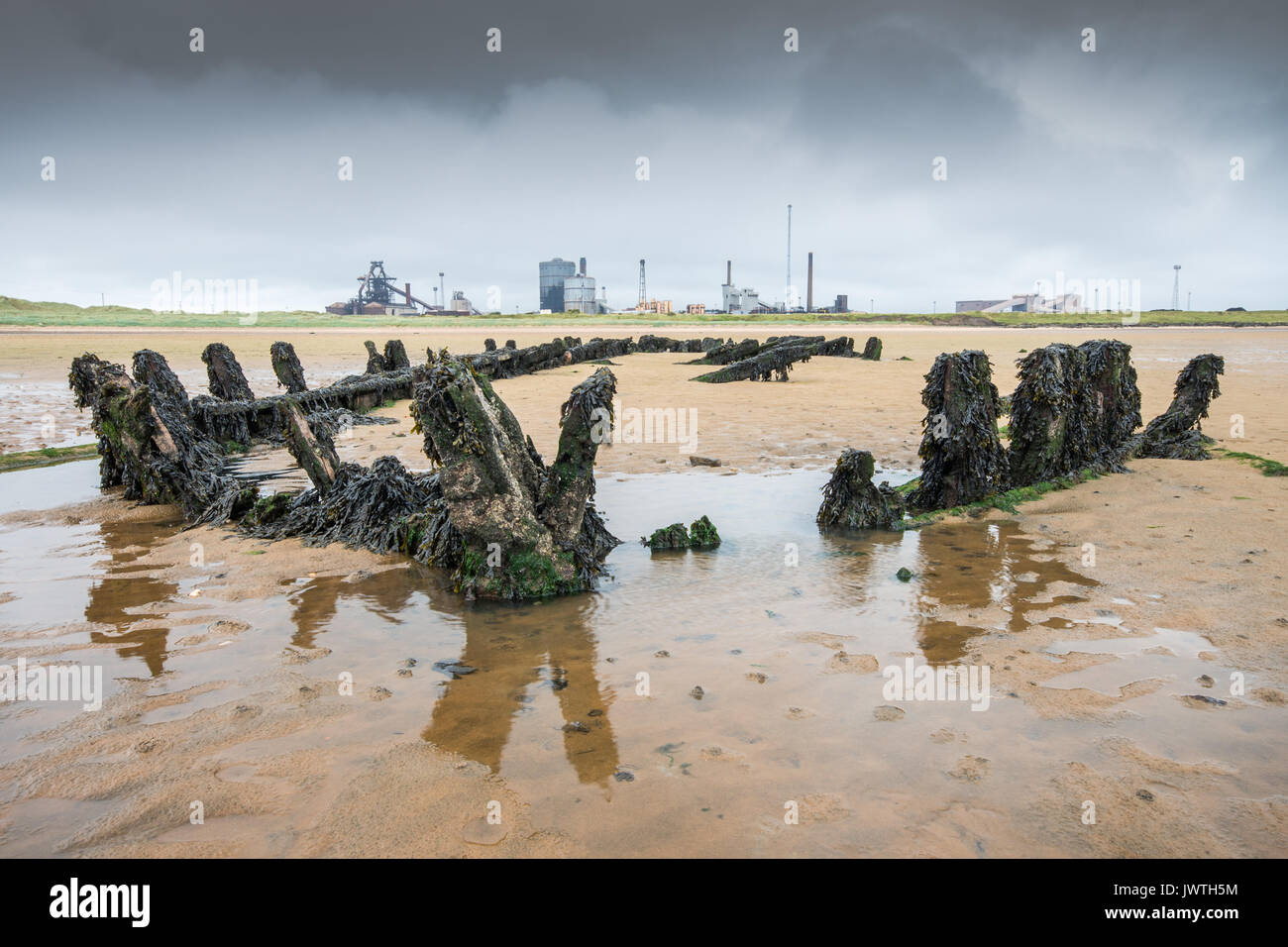 Shipwreck on Bran Sands beach, South Gare, Redcar, Cleveland - Stock Image