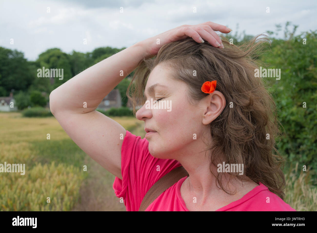 A woman in a pink top pulling her hair back to reveal a wild field poppy tucked behind her ear on a summer's day. UK - Stock Image