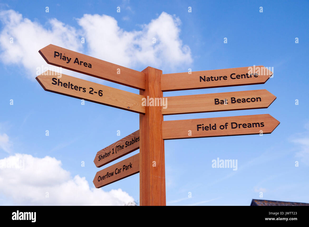 Signpost at Sidmouth donkey sanctuary, play area,stables,shelters,bat beacon,field of dreams,nature centre, - Stock Image