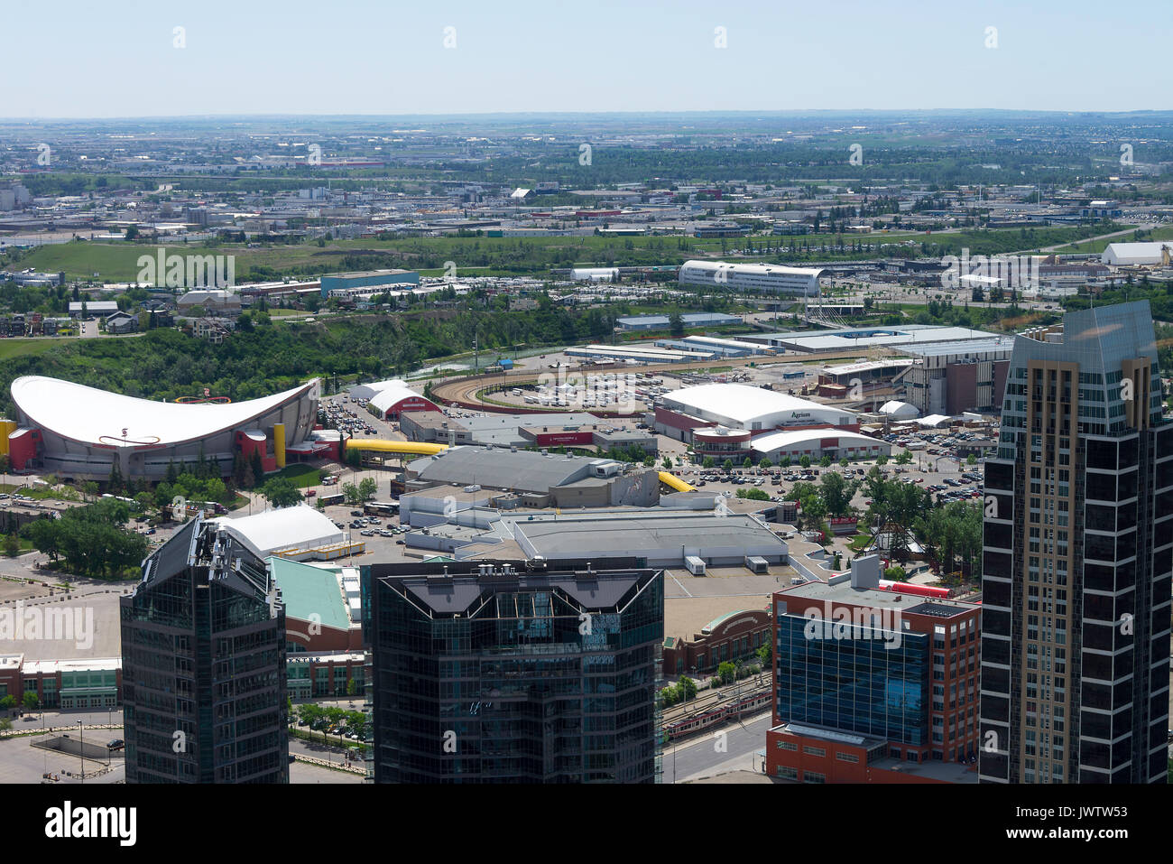 The Aerial View Towards The Calgary Stampede Showground and Saddledome from The Calgary Tower Alberta Canada - Stock Image