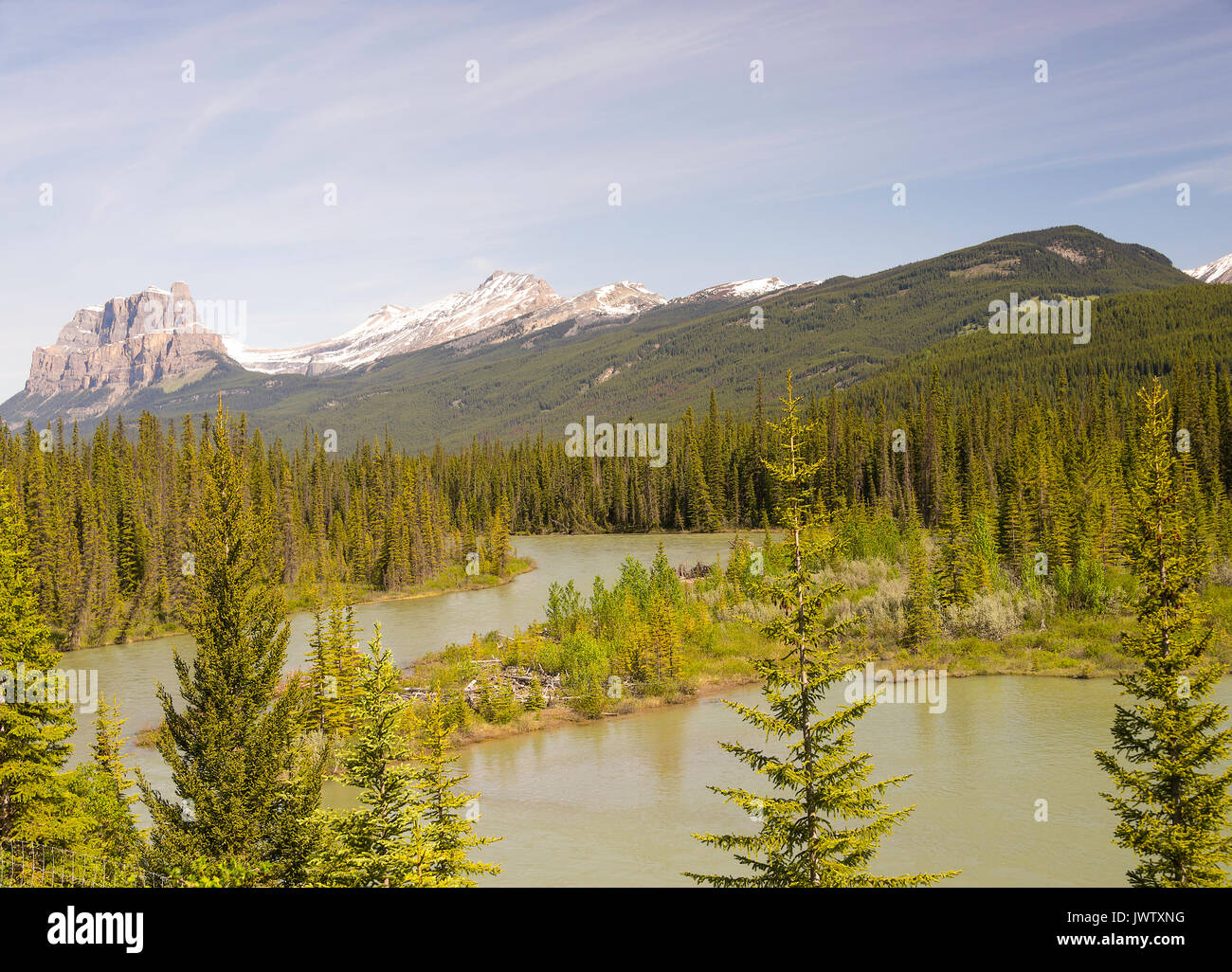 Castle Mountain and the Bow River near Banff in Banff National Park Alberta Canada - Stock Image