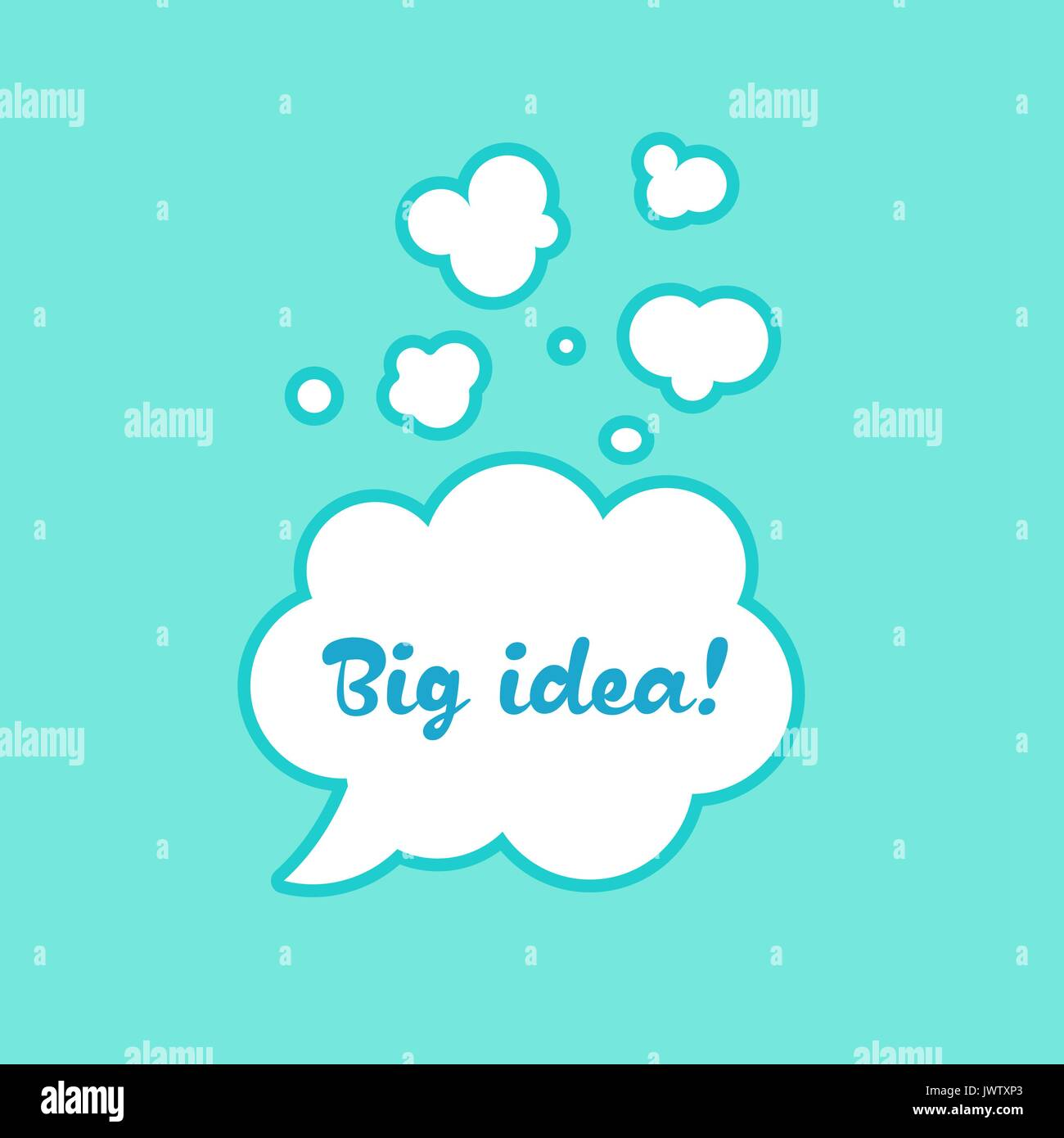 The inscription in the bubble big idea sticker illustration vector for dialogue in the cartoons - Stock Vector