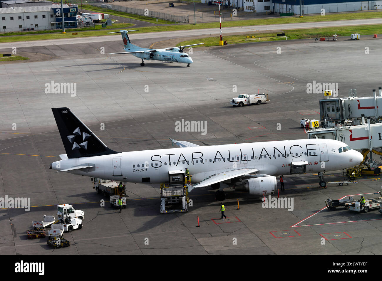 Air Canada Star Alliance Airline Airbus A320-211 Airliner C-FDRH Airliner on Stand Preparing for Departure at Calgary Airport Alberta Canada - Stock Image