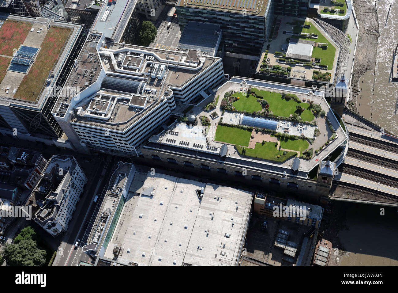 aerial view of The Banker Pub near Cannon Street Station, London - Stock Image