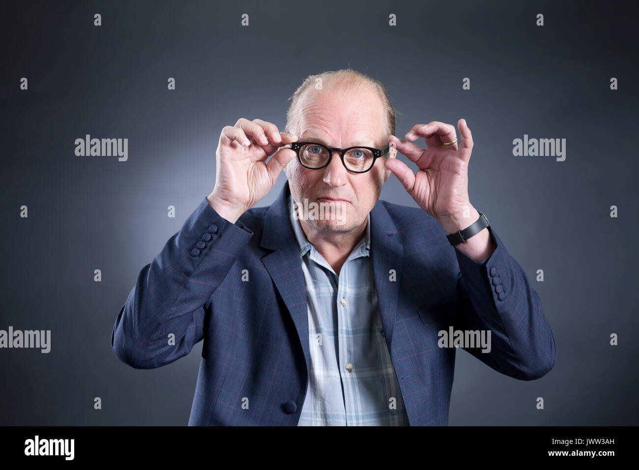 Edinburgh, UK. 13th Aug, 2017. Adrian Charles 'Ade' Edmondson, the English comedian, actor, writer, musician, television presenter and director, appearing at the Edinburgh International Book Festival. Credit: GARY DOAK/Alamy Live News - Stock Image