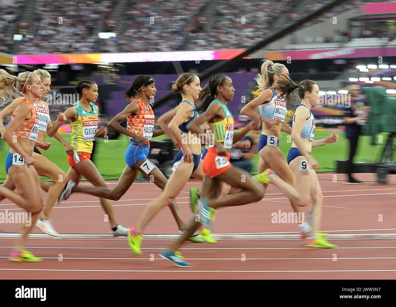 London, UK. 13th Aug, 2017. Eilish MCCOLGAN (GBR) and Laura MUIR (GBR) in the womens 5000m final. IAAF world athletics Stock Photo