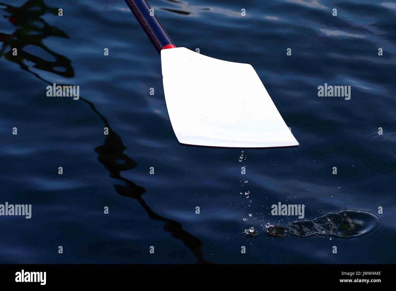 Peterborough, Cambridgeshire UK. 13th August, 2017. Water drips from an oar blade at the Peterborough Rowing Club Summer Regatta, Peterborough, Cambridgeshire UK on August 13, 2017 Credit: Paul Marriott/Alamy Live News - Stock Image