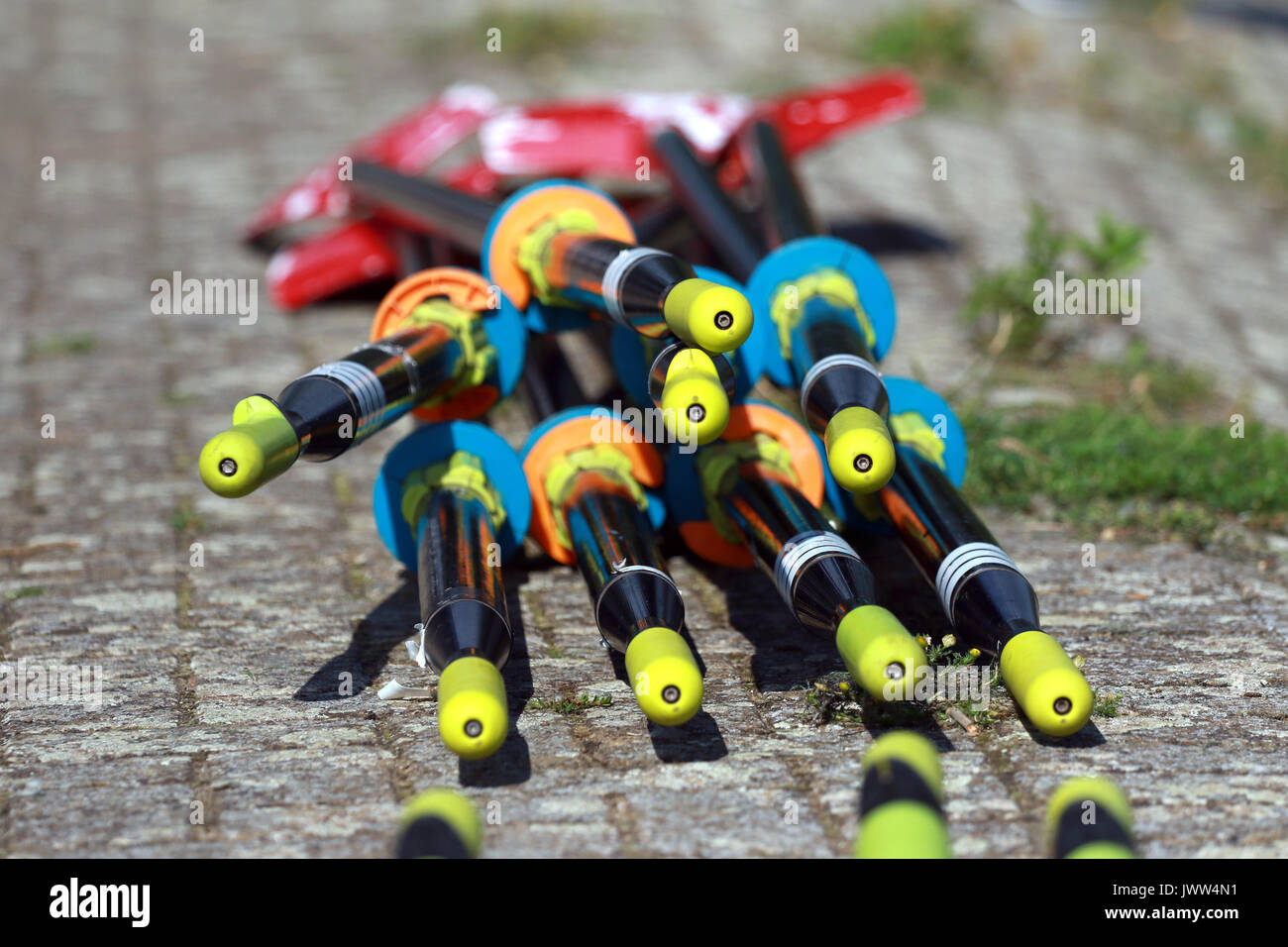 Peterborough, Cambridgeshire UK. 13th August, 2017. Rowing oars at the Peterborough Rowing Club Summer Regatta, Peterborough, Cambridgeshire UK on August 13, 2017 Credit: Paul Marriott/Alamy Live News - Stock Image
