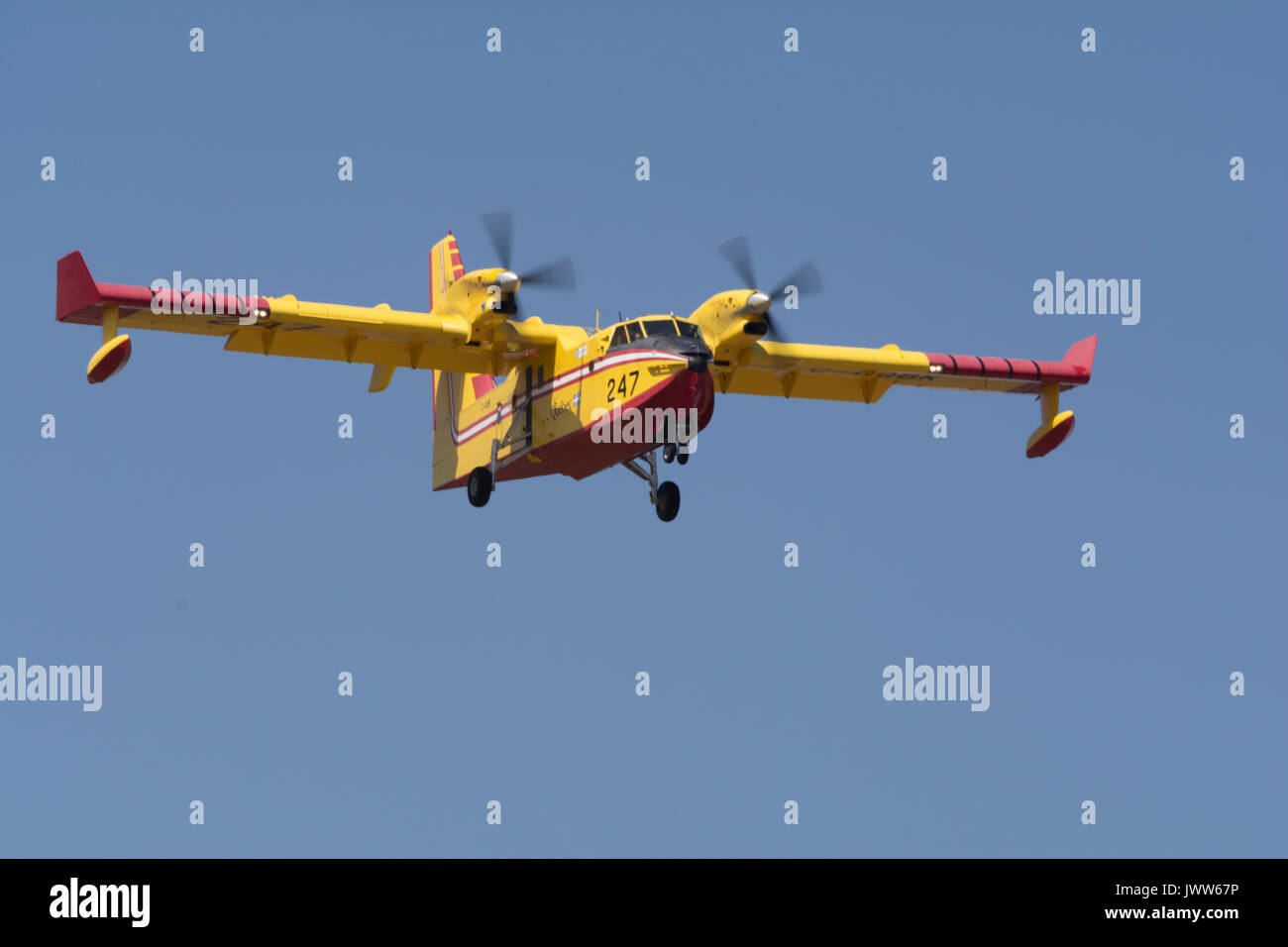 Van Nuys Airport, CA, USA. 13th Aug, 2017. Supper Scopper 247 from Canada arrived back in Los Angeles County for support of the busy wildfire season. Credit: Chester Brown/Alamy Live News Stock Photo