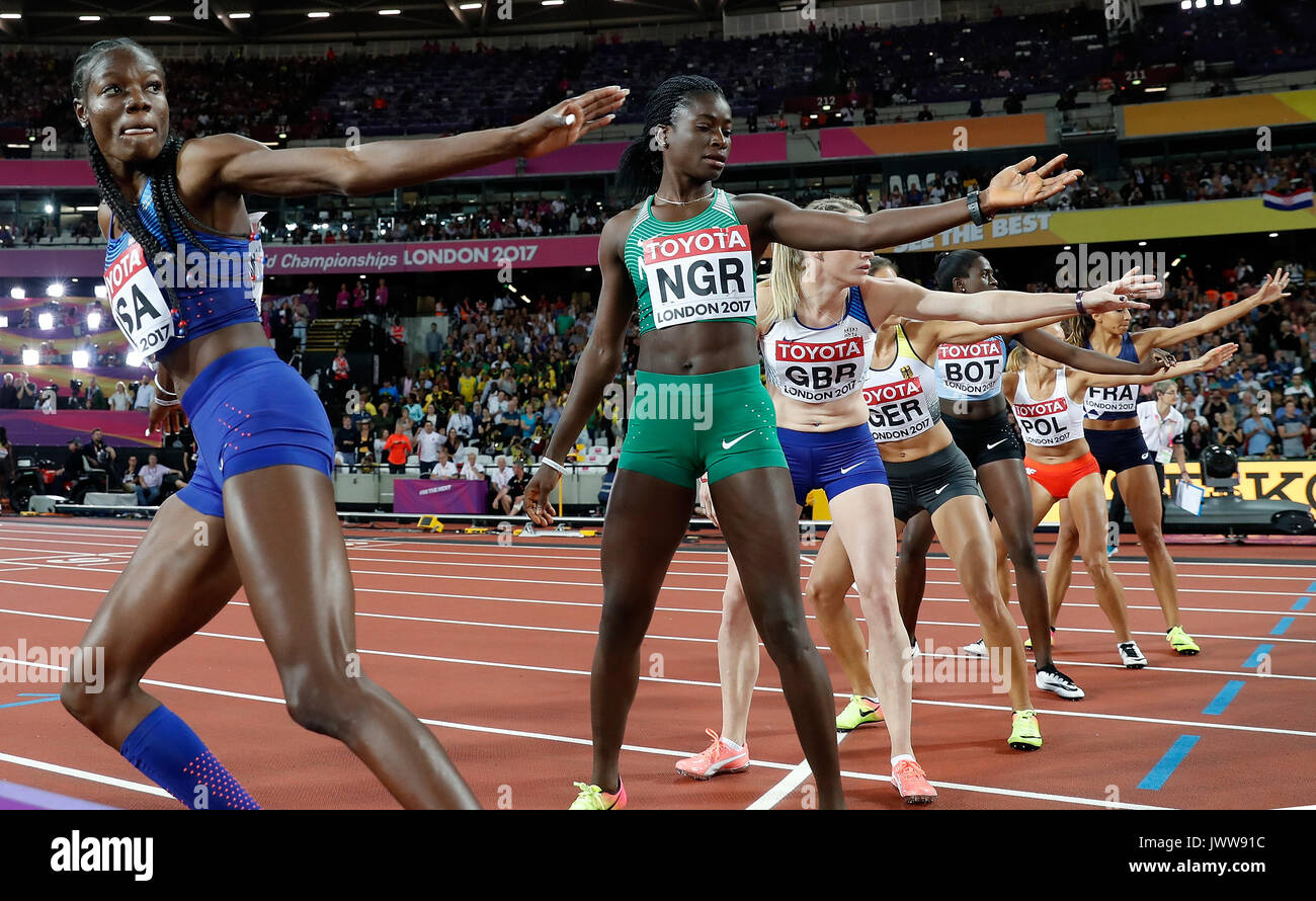 London, UK. 13th Aug, 2017. Shakima Wimbley (1st, L) of Team United States compete during Women's 4X400 Relay Final on Day 10 of the 2017 IAAF World Championships at London Stadium in London, UK, on Aug. 13, 2017. Team United States claimed the title with 3 minutes 19.02 seconds. Credit: Wang Lili/Xinhua/Alamy Live News - Stock Image