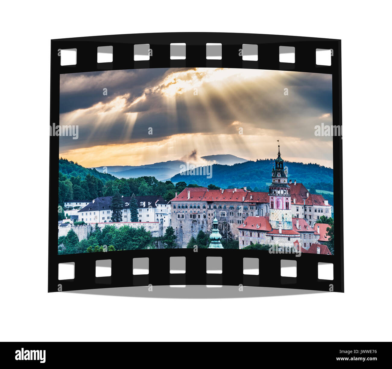 View of the old town of Chesky Krumlov and the Castle Chesky Krumlov in the evening, Bohemia, Jihocesky Kraj, Czech Republic, Europe - Stock Image