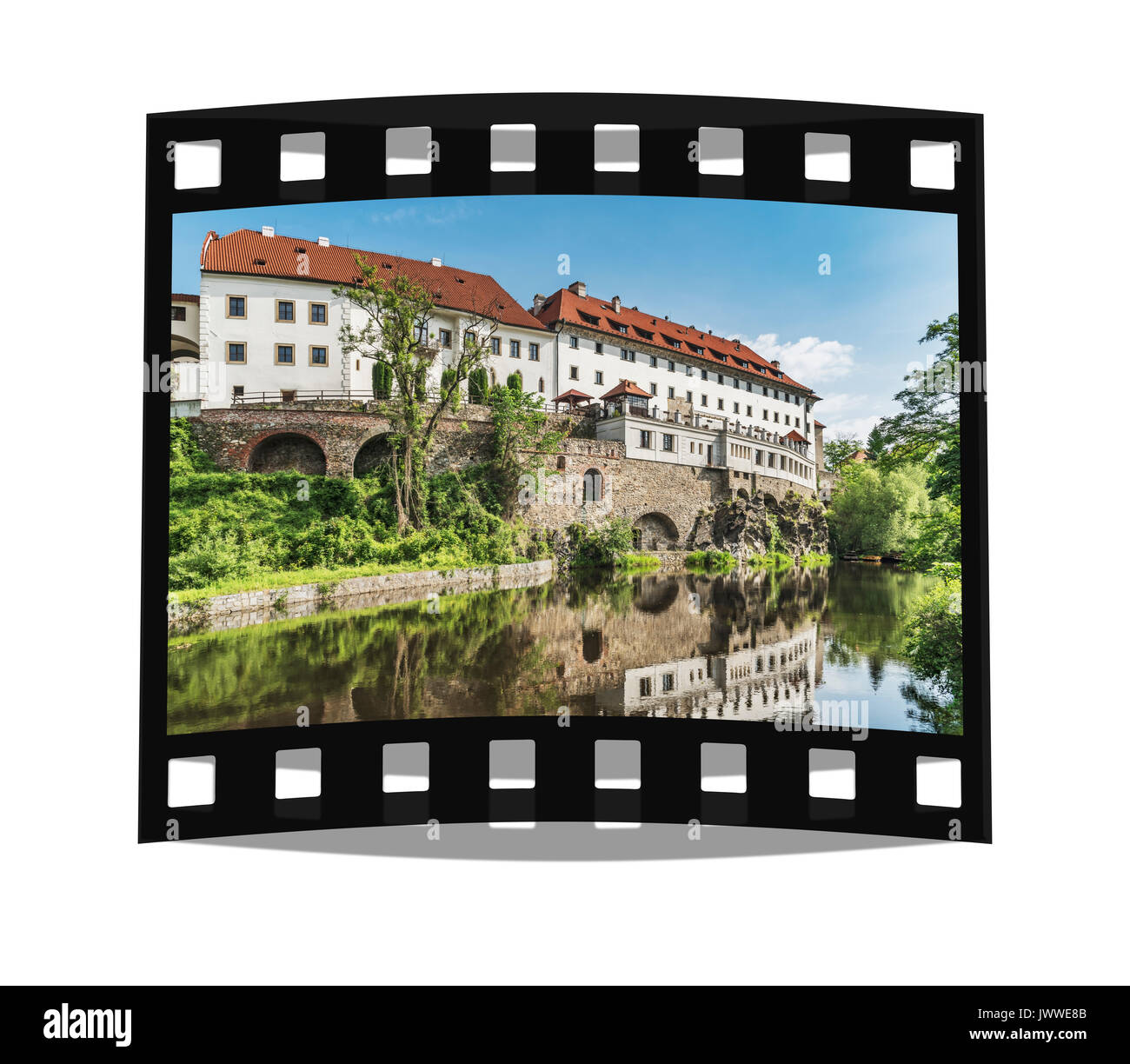 The building of the former Jesuit college is now the Hotel Ruze. On the left is the building of the Praelatur in Cesky Krumlov, Czech Republic, Europe - Stock Image