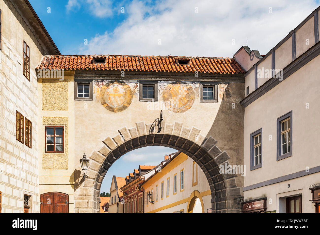 The connecting passage over the Latran alley between the castle and the monastery,Cesky Krumlov, Bohemia, Jihocesky Stock Photo