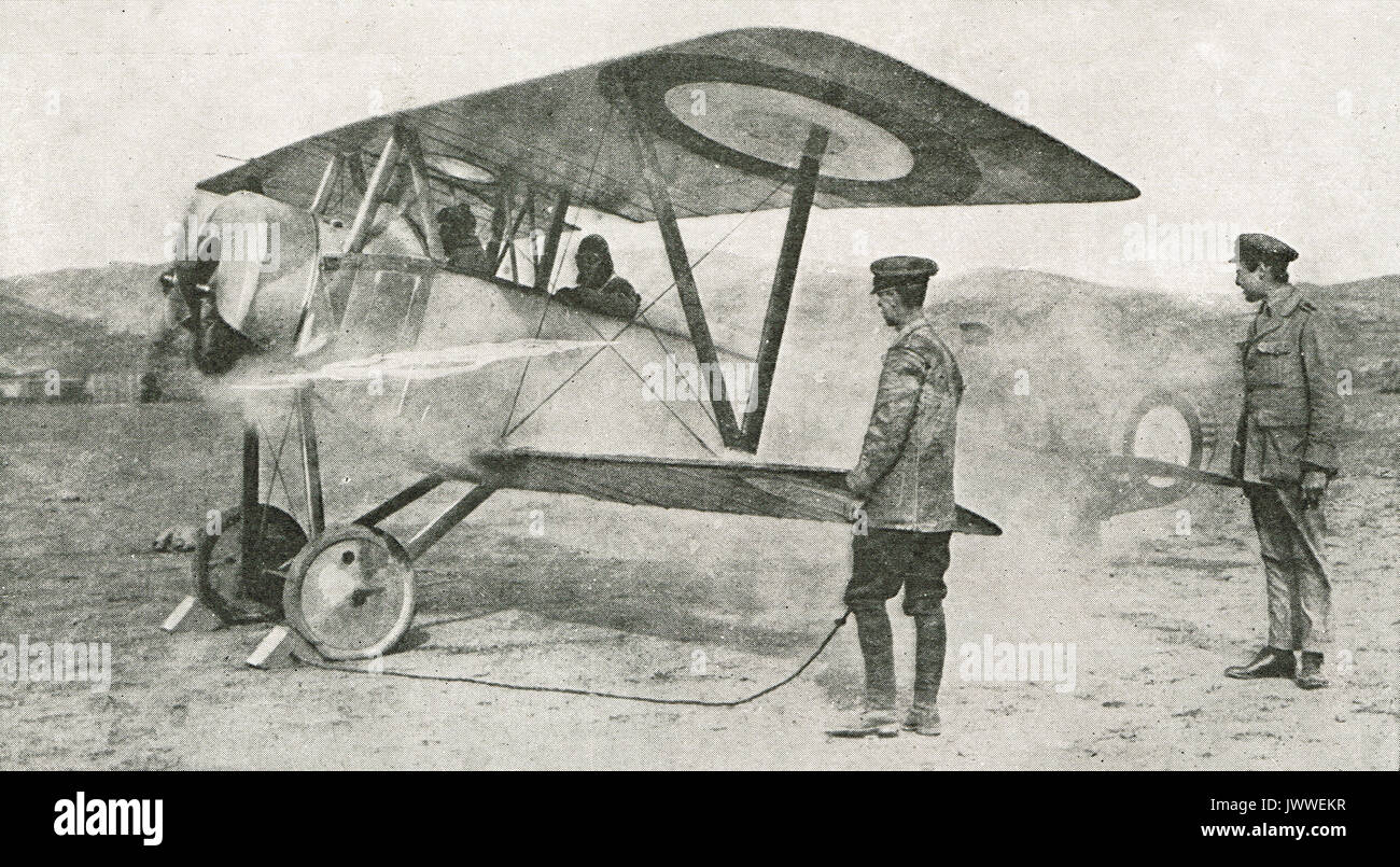 British bi plane awaiting take off, WW1 - Stock Image