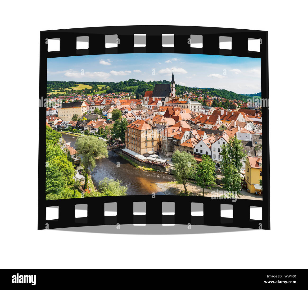 View of the old town of Chesky Krumlov, the St. Vitus Church and the River Vltava in Bohemia, Jihocesky Kraj, Czech Republic, Europe - Stock Image