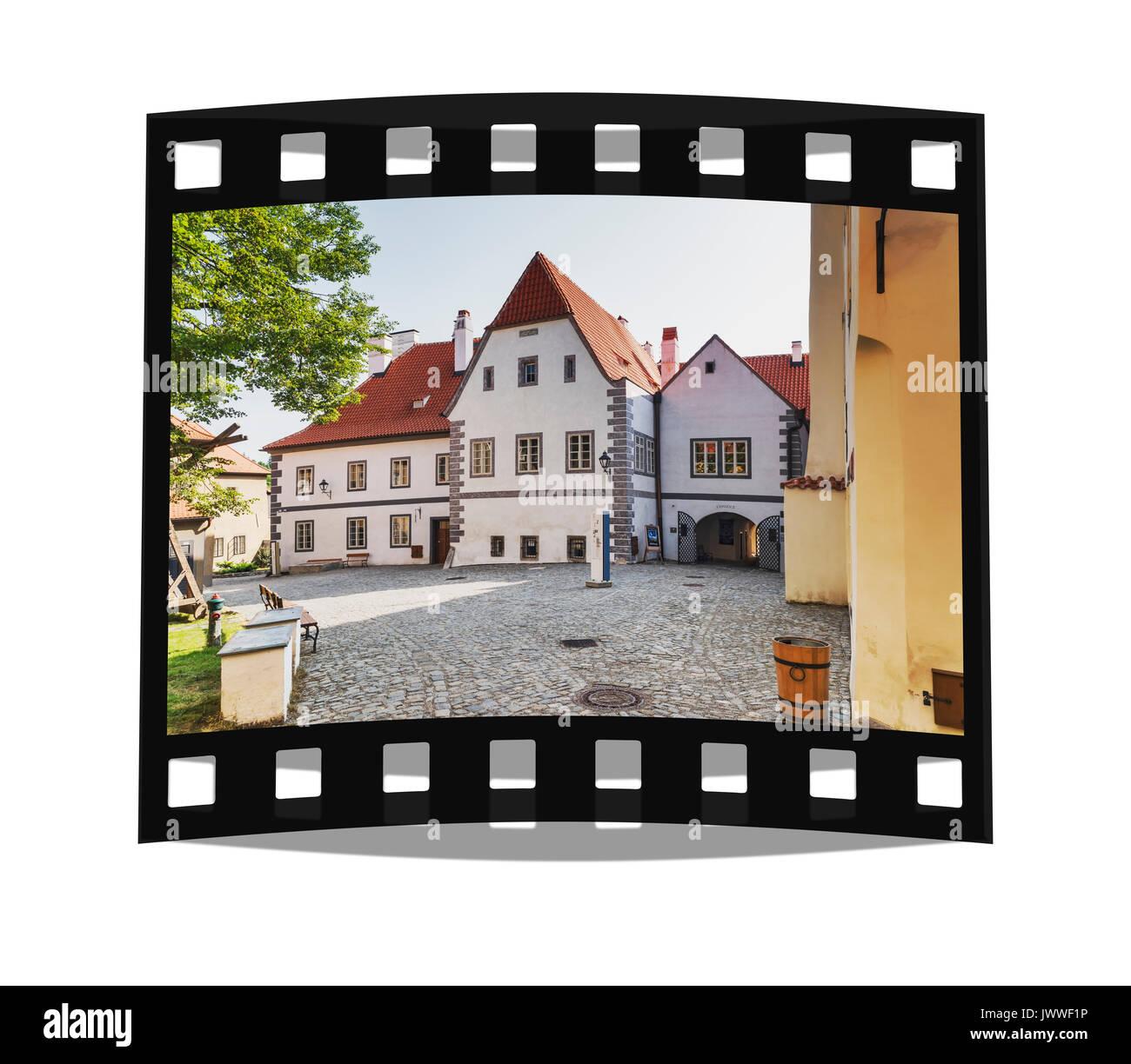 The Monastery courtyard is located in the town of Cesky Krumlov on the Vltava River in Bohemia, Jihocesky kraj, Czech Republic, Europe - Stock Image