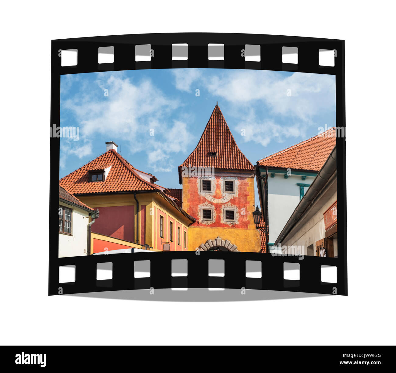 The Budejovicka gate was built from 1598 to 1602. It is a city gate still preserved today in Cesky Krumlov, Bohemia, Jihocesky kraj, Czech Republic, E - Stock Image