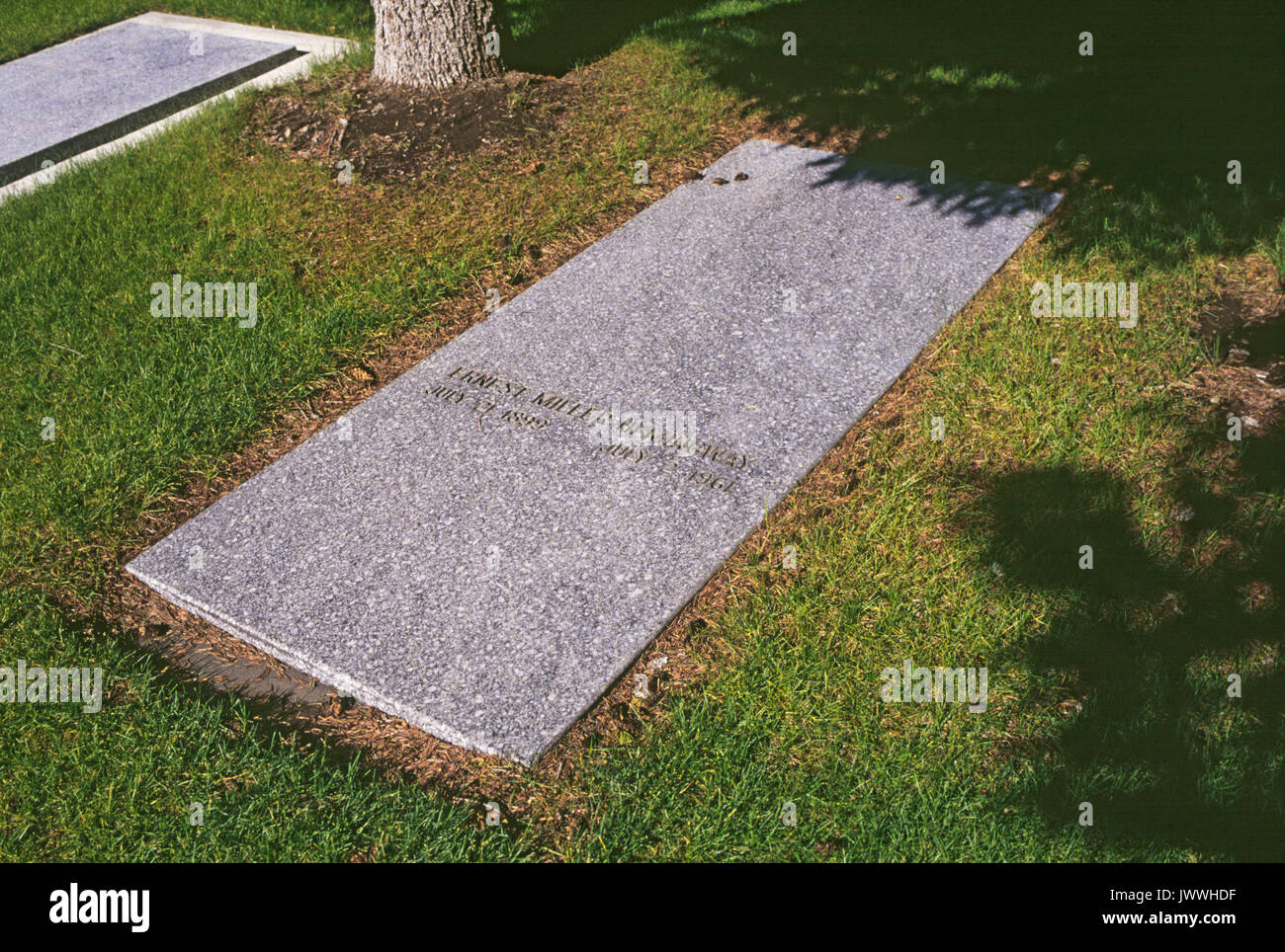 The grave site of Ernest Hemingway, in a cemetery in Ketchum, Idaho. - Stock Image