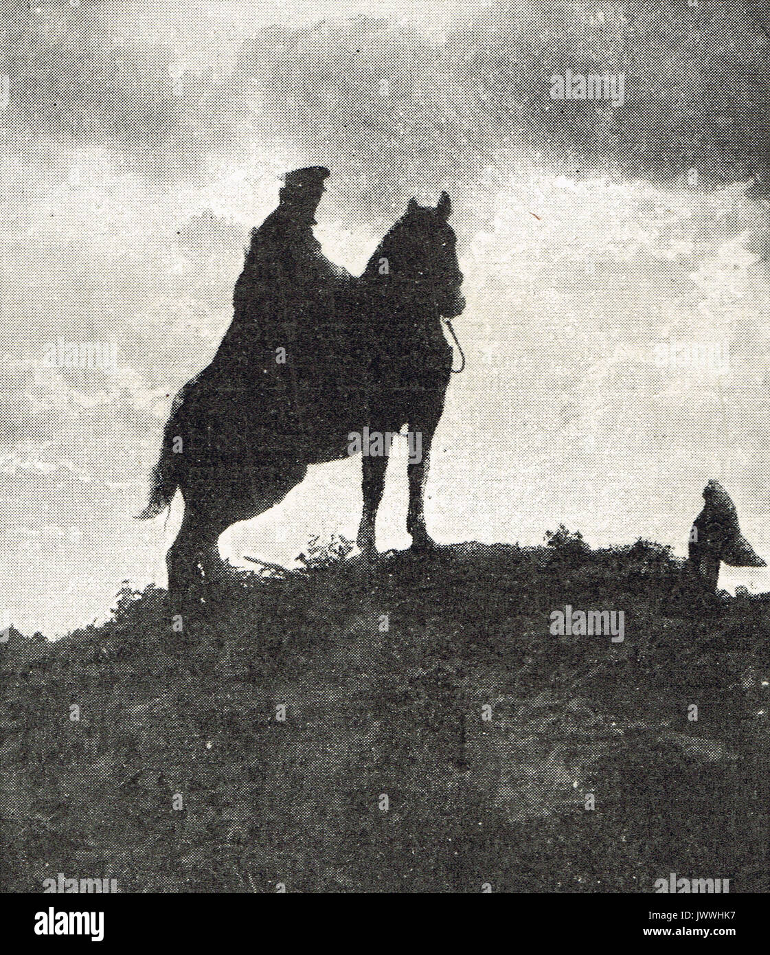 Silhouette, Lone Cavalryman at the Somme, WW1 - Stock Image