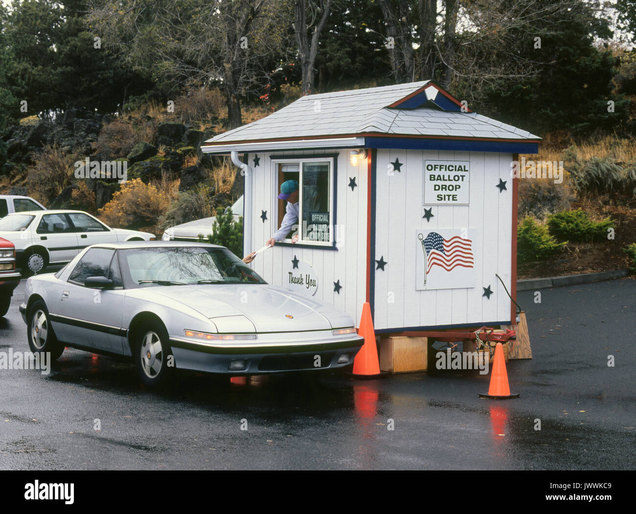 A ballot drop off point in Oregon. Oregon is a vote by mail state, and also has a motor voter law which means that residents who receive driver's lice - Stock Image