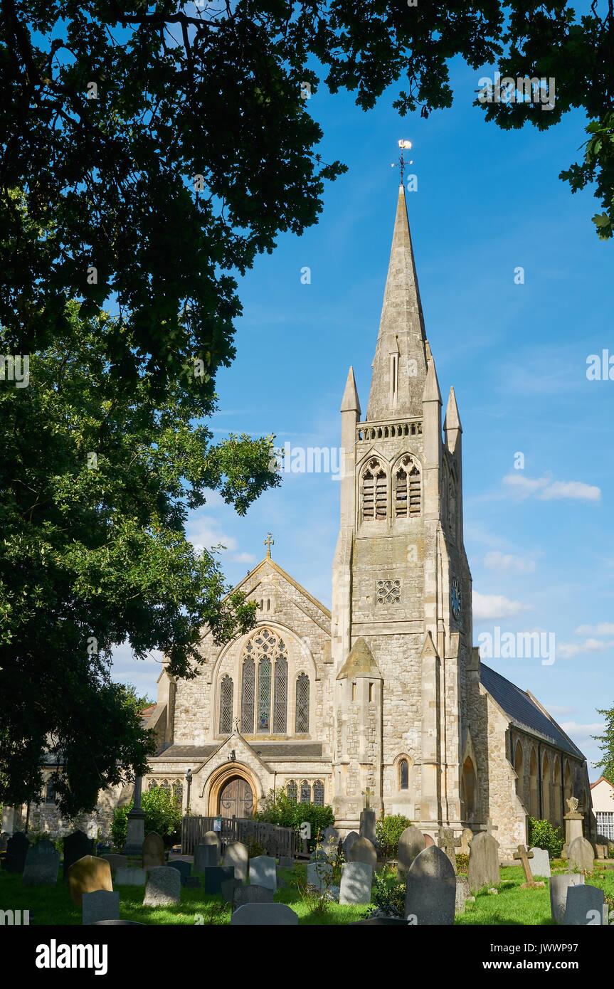 The early Victorian church of St John the Baptist at Buckhurst Hill, Essex, UK - Stock Image