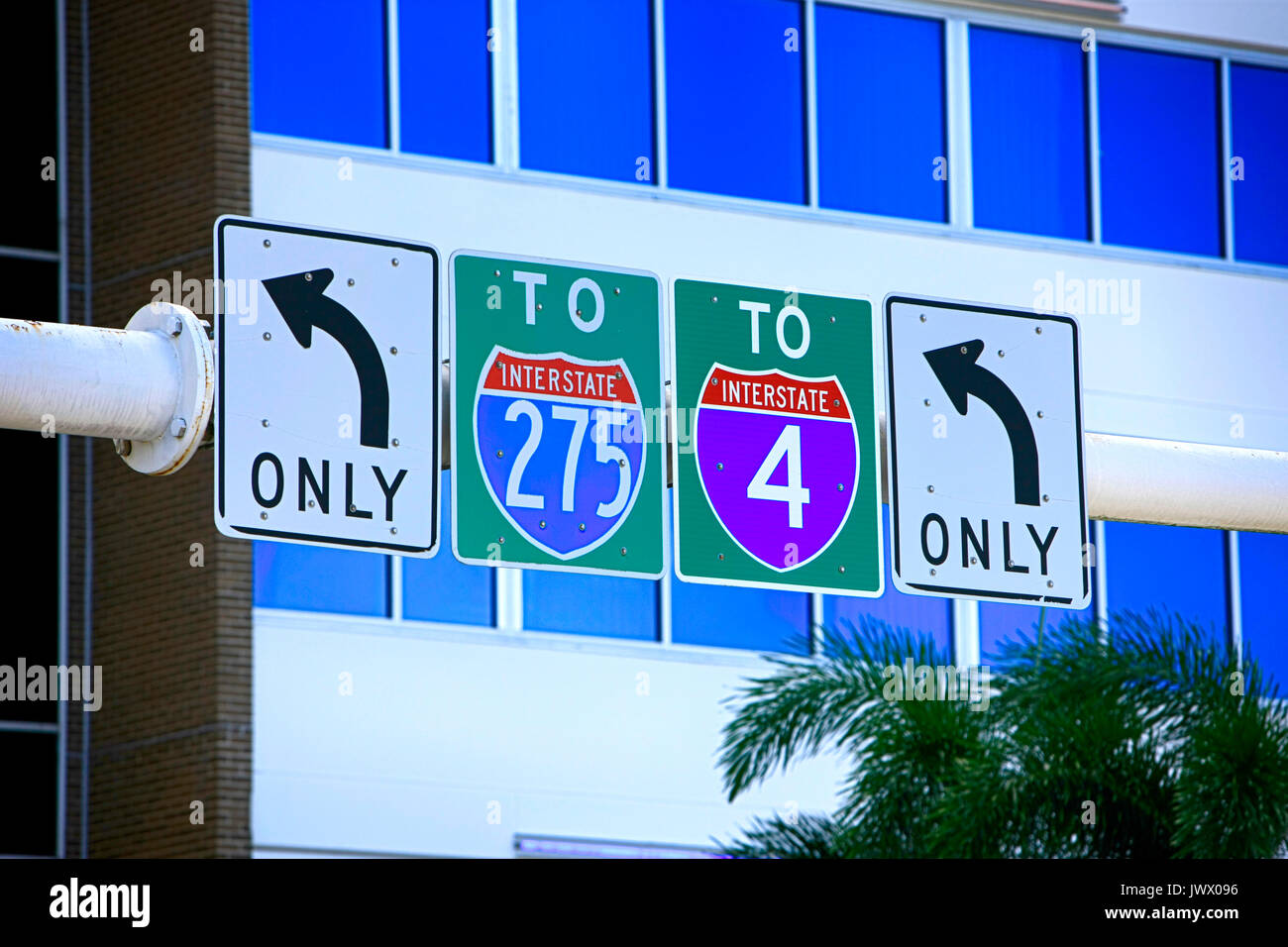 Overhead traffic signs pointing to I-275 and I-4 in downtown Tampa FL, USA - Stock Image