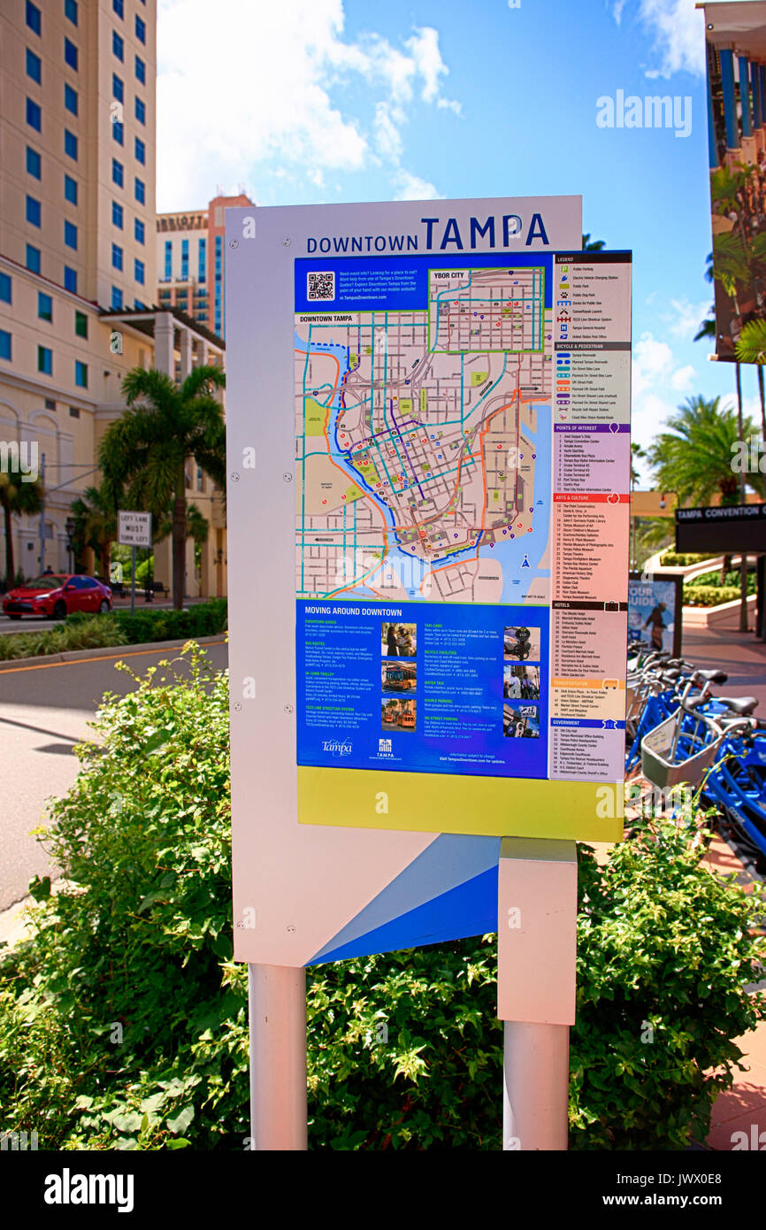 Map Of Downtown Tampa Florida Street map of downtown Tampa FL, USA Stock Photo   Alamy