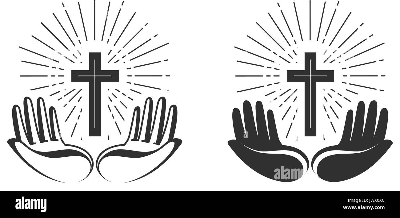Religion concept. Bible, church, faith, pray icon or symbol. Vector illustration Stock Vector