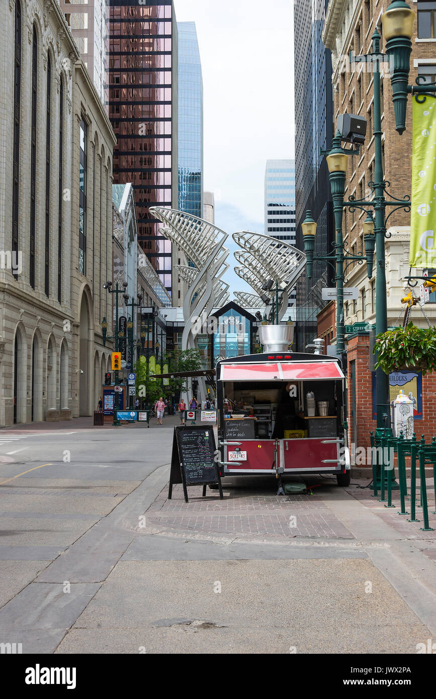 Food Vendor in Cabin on Stomping Grounds 8 Avenue SW in Downtown Calgary Alberta Canada - Stock Image