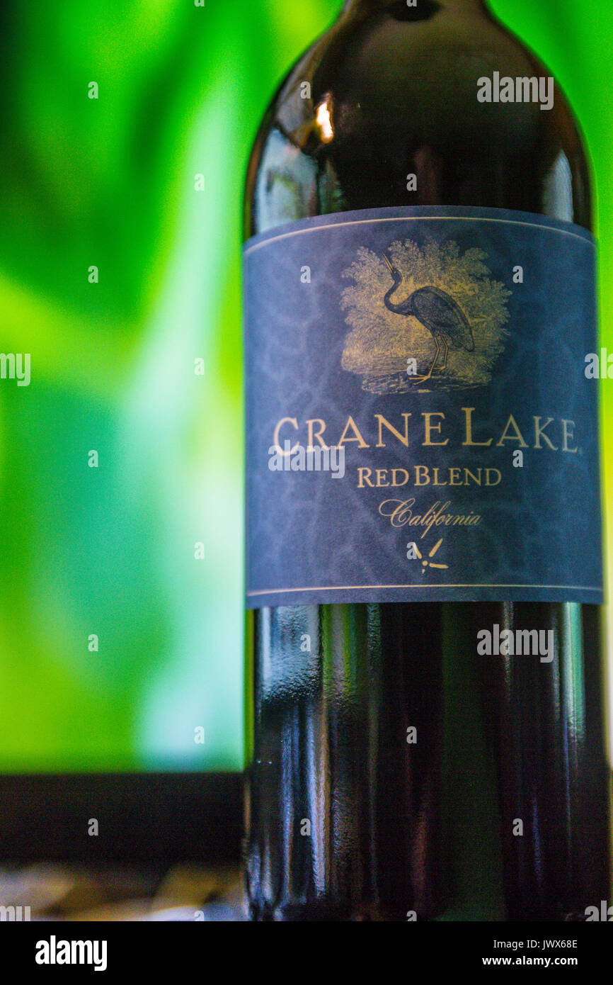 Crane Lake red wine a very good cheap wine from Bronco Wine Company famous for Trader Joe's Two Buck Chuck brand of wines - Stock Image