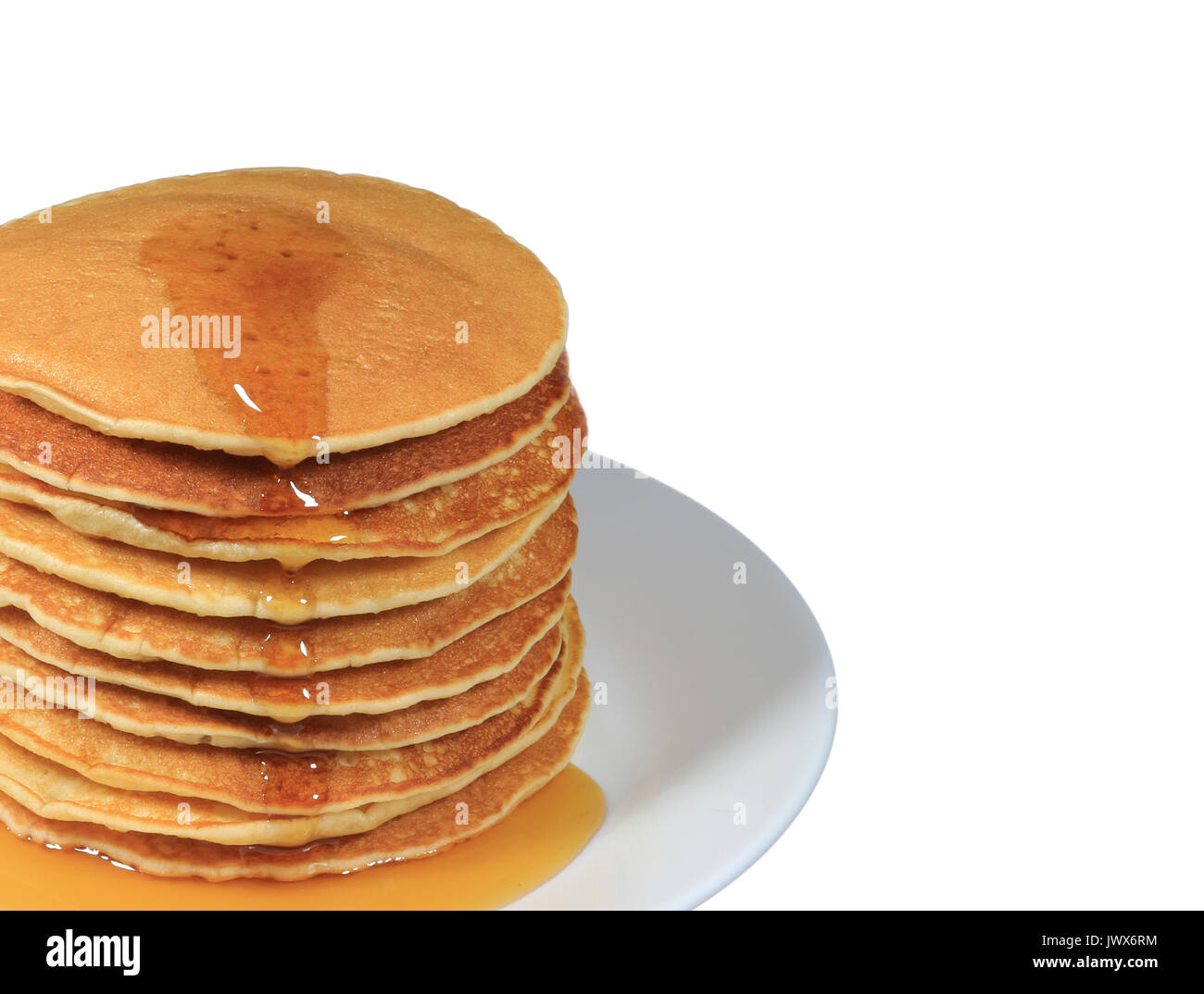 Closed up stack of fresh made pancakes with maple syrup served on white plate, white background with free space for text and design - Stock Image