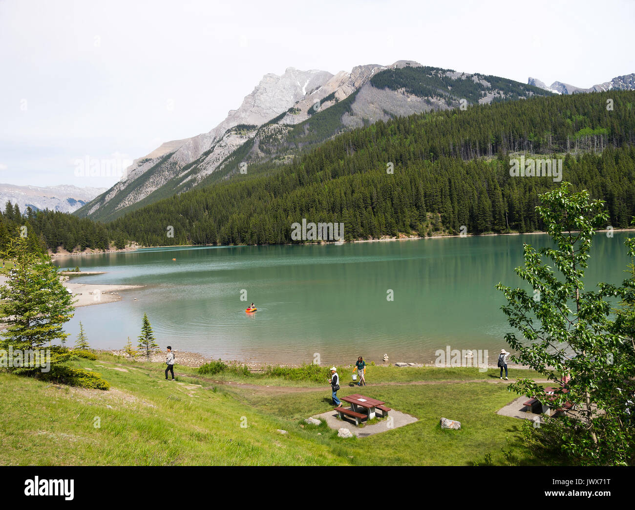 The Popular Two Jack Lake near Banff Alberta Canada - Stock Image