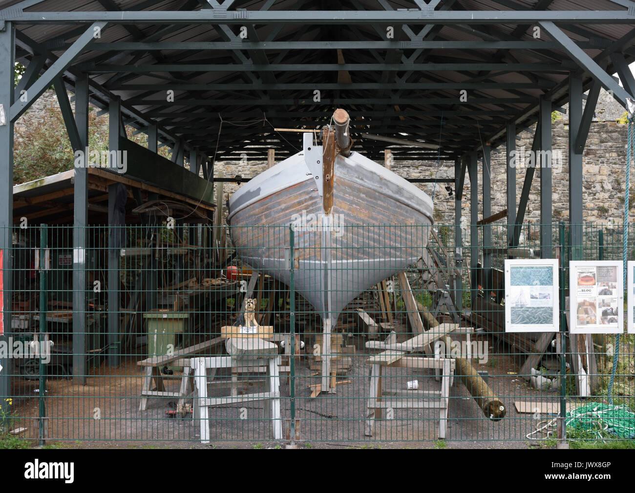 Nobby helen 11 wooden boat under restoration - Stock Image