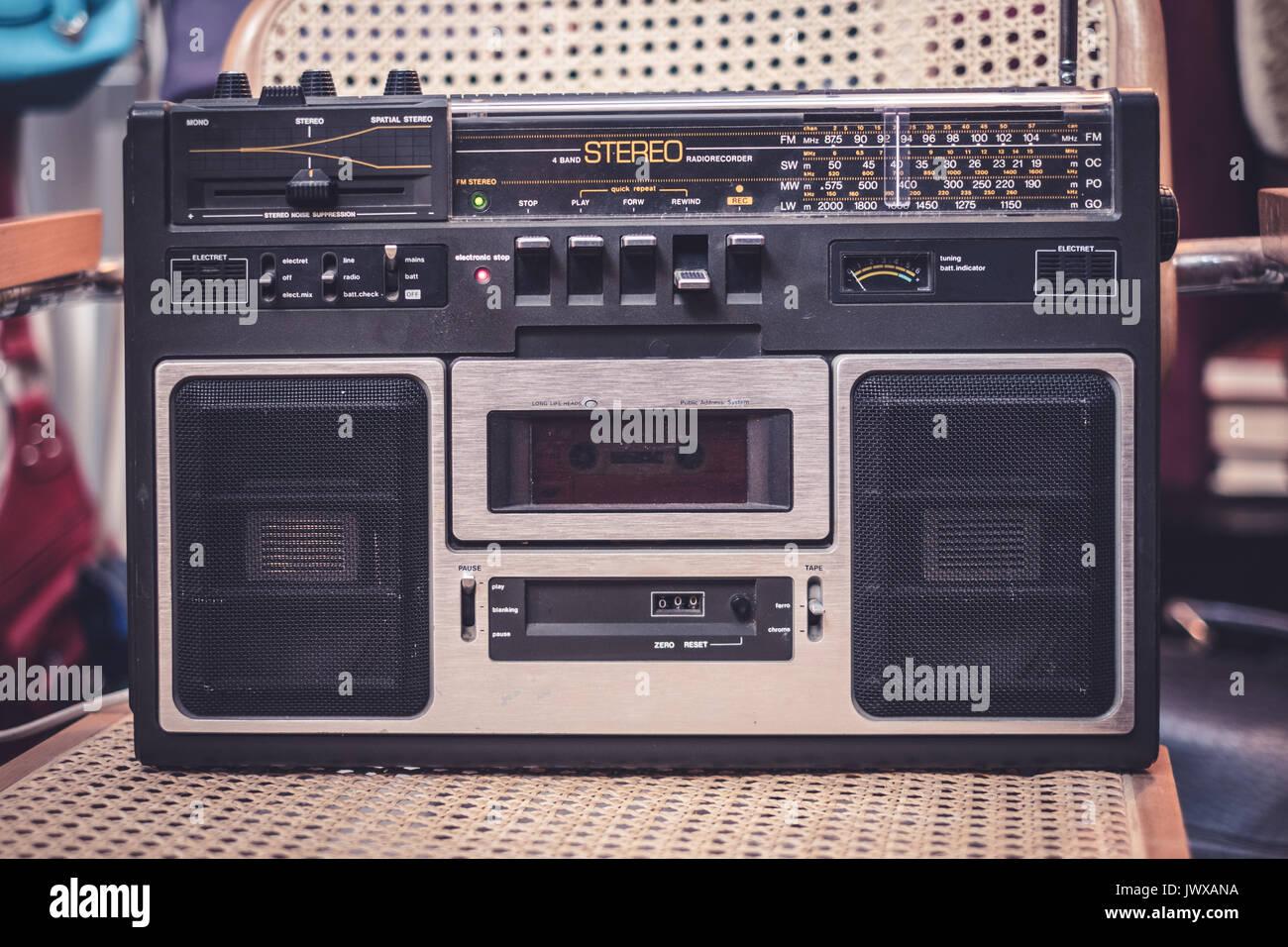 cassette recorder / audio player - 80s radio - Stock Image