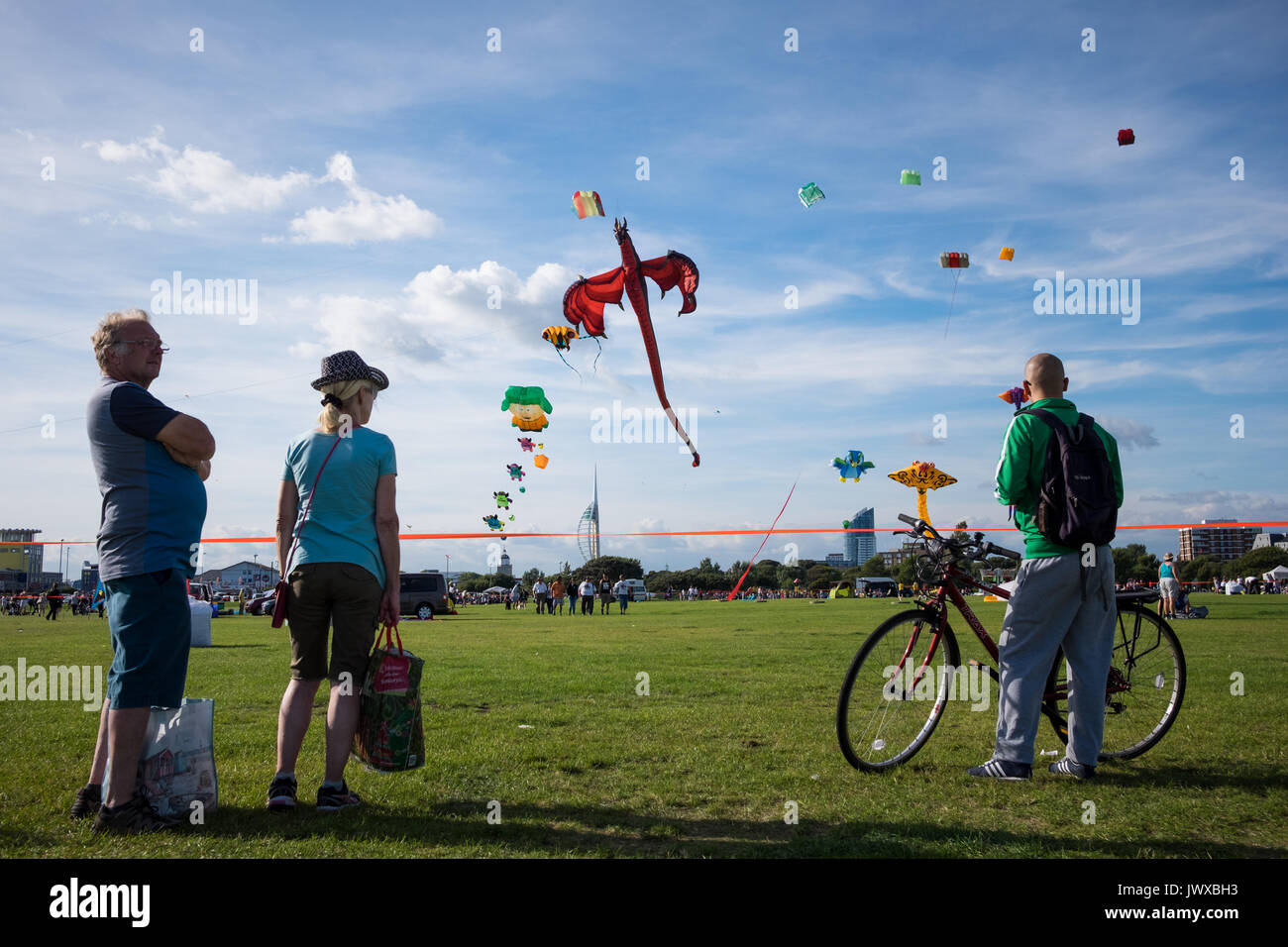 People at the Portsmouth International Kite Festival 2017, on what was the 26th anniversary for the festival held Stock Photo