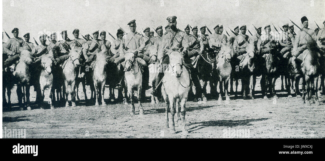 World War I — Cossacks, respected and feared in the eastern theatre of war as the Uhlans are in the western field. Stock Photo