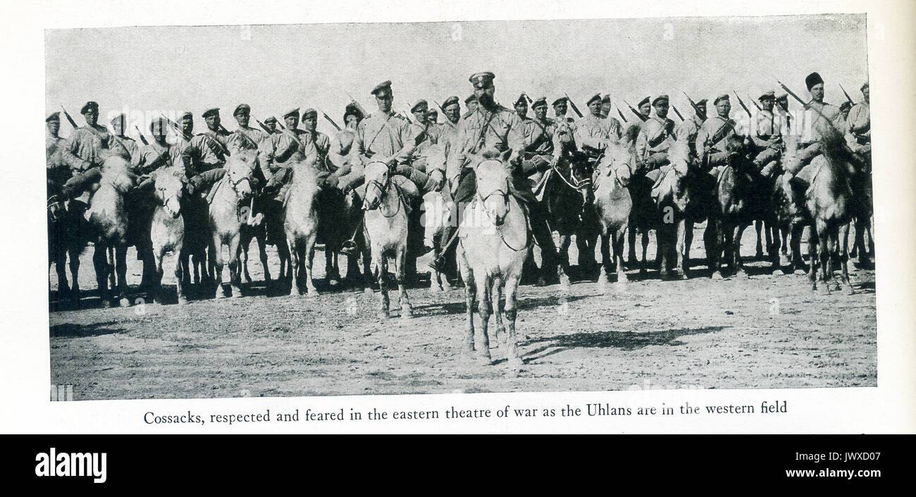 World War I — Cossacks, respected and feared in the eastern theatre of war as the Uhlans are in the western field. Cossacks are members of a people of southern Russia and Ukraine, noted for their horsemanship and military skill. During WWI, the Cossacks formed 57 cavalry regiments–approximately 100,000 horsemen. - Stock Image
