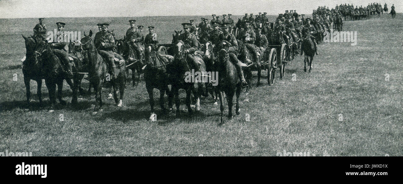 Here we see British field artillery in World War I These troops were brought to a high point of efficiency through lessons learned in South African War. - Stock Image